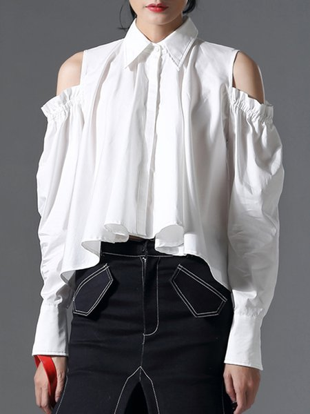 White Asymmetric Shirt Collar Statement Blouse