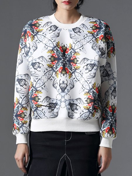 White Crew Neck Casual Printed Sweatshirt