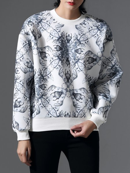 White Crew Neck Casual Polyester Printed Sweatshirt