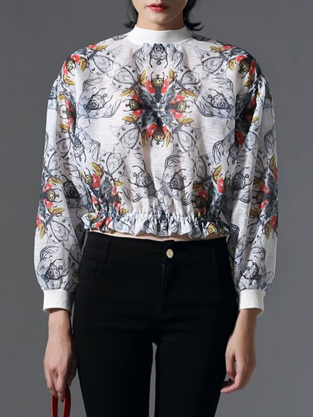 White Printed Polyester Statement Cropped Top