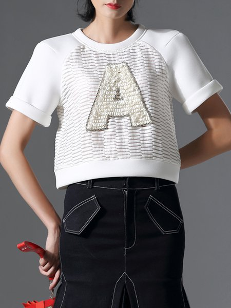 White Casual Letter Paneled T-Shirt