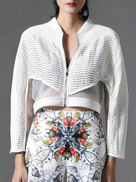 White Long Sleeve Zipper Paneled Bomber Jacket