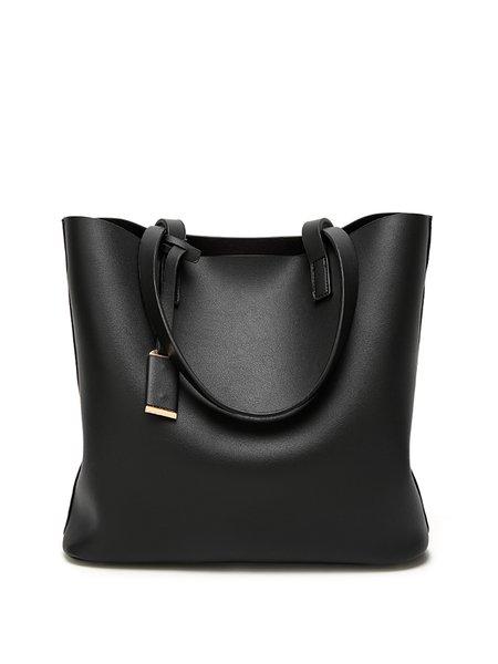 PU Simple Zipper Shoulder Bag