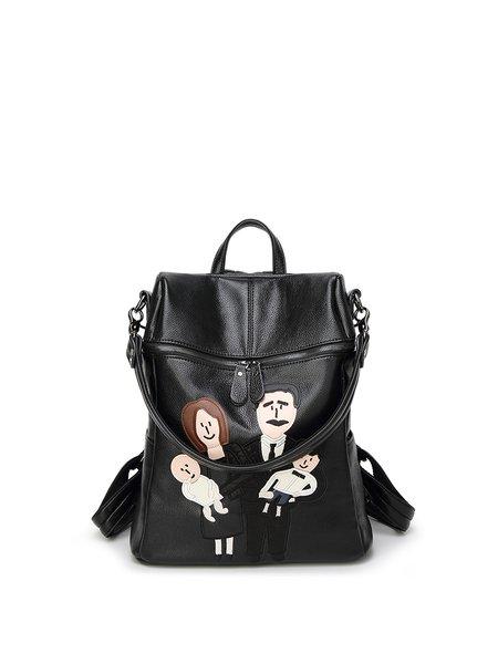 Large Black Zipper Casual Backpack