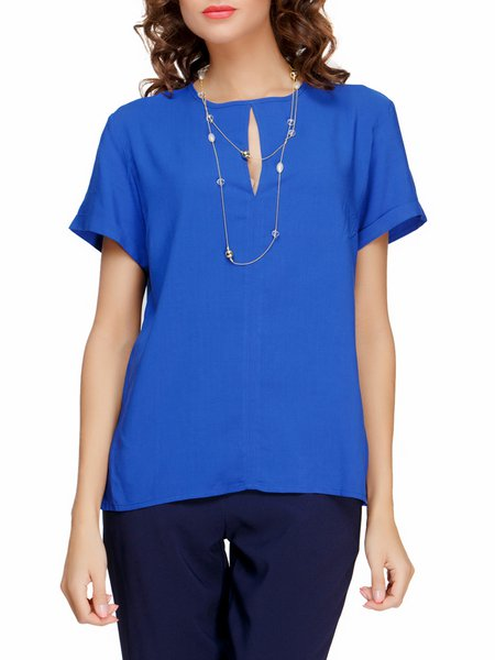 Crew Neck Casual Solid Blouse