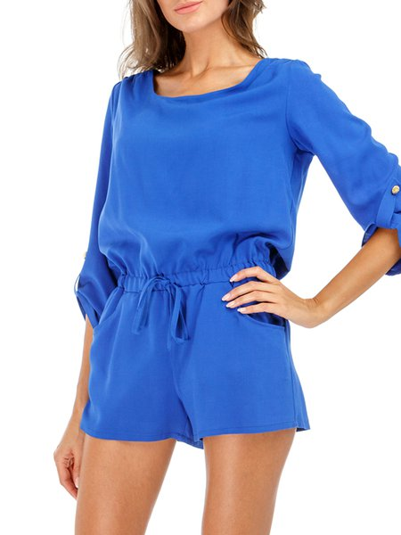 3/4 Sleeve Casual Solid Romper