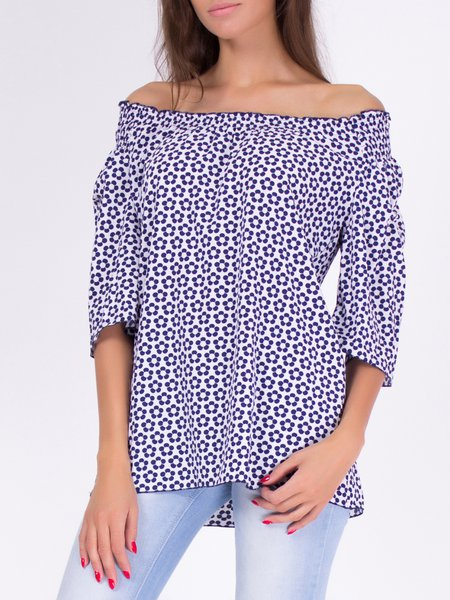 Multicolor Cotton-blend 3/4 Sleeve Printed Blouse