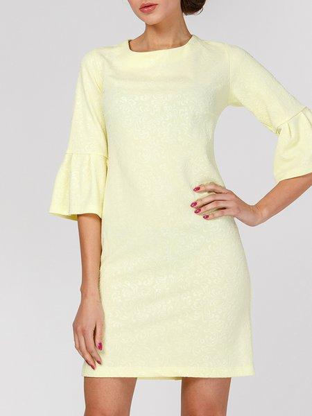 Yellow Sheath Bell Sleeve Midi Dress