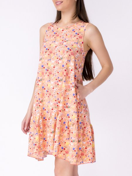 Crew Neck Casual Floral Sleeveless Midi Dress