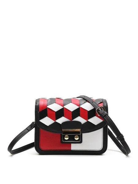 Multicolor Statement Fold-over Flat Top Split Leather Crossbody Bag