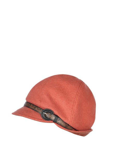 Wool Blend Plain Hat with Belt