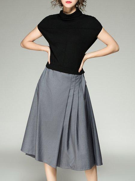 Black-grey Shorts Sleeve Paneled Midi Dress