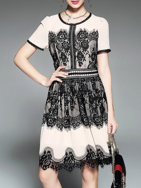 Black Crew Neck Lace Short Sleeve Midi Dress