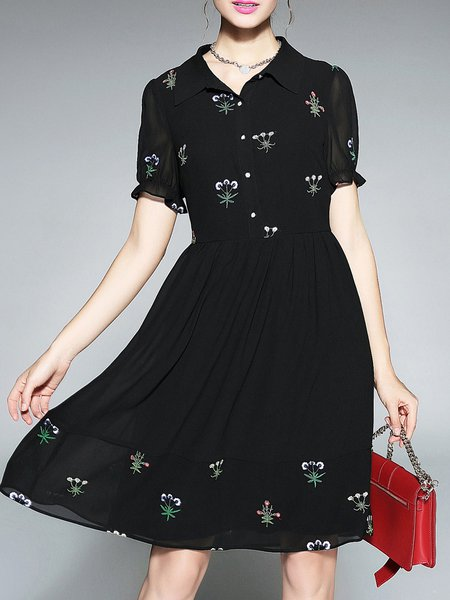 Plus Size Black Floral-embroidered Chiffon Floral Frill Sleeve Midi Dress