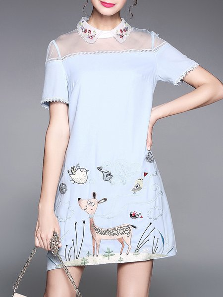 Short Sleeve Girly A-line Solid Midi Dress