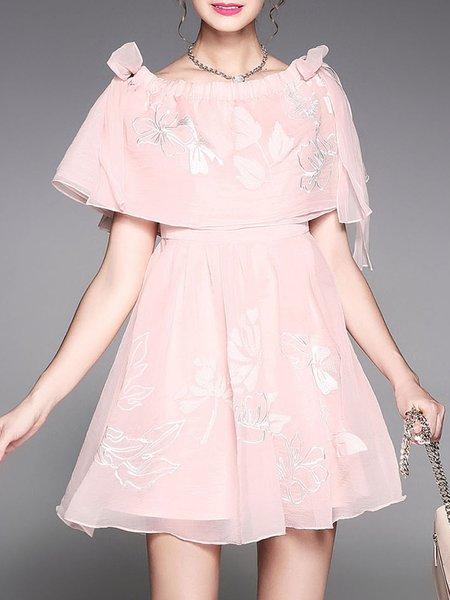 Chiffon Girly A-line Embroidered Midi Dress
