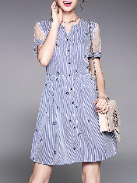 Blue A-line Stand Collar Half Sleeve Cotton-blend Midi Dress