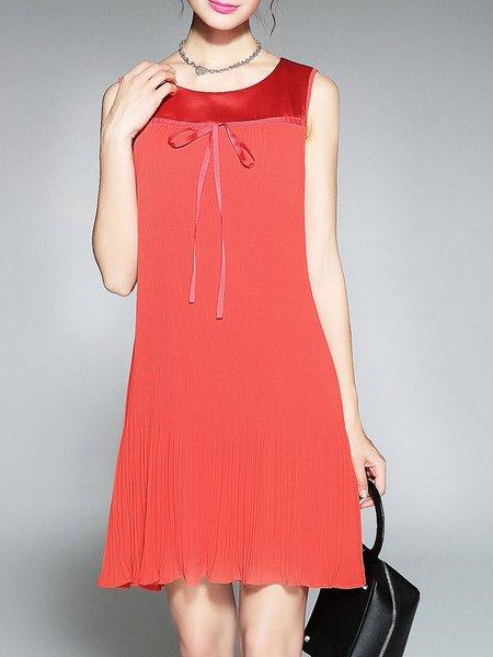 Red Crew Neck Chiffon A-line Sleeveless Pleated Midi Dress