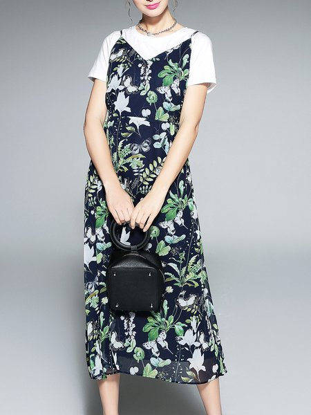 Navy Blue Two Piece Casual Floral-print Midi Dress