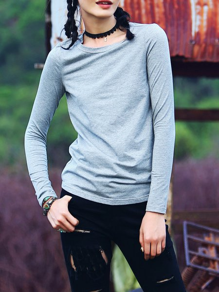 Gray Casual Cotton-blend Solid T-Shirt