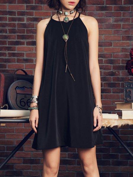 Black Spaghetti Tribal Boho Midi Dress