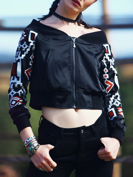 Black Geometric Long Sleeve Off Shoulder Cropped Jacket