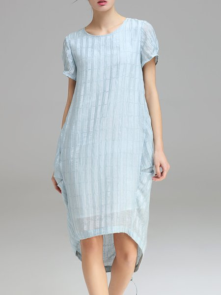 Light Blue Cocoon Short Sleeve Midi Dress