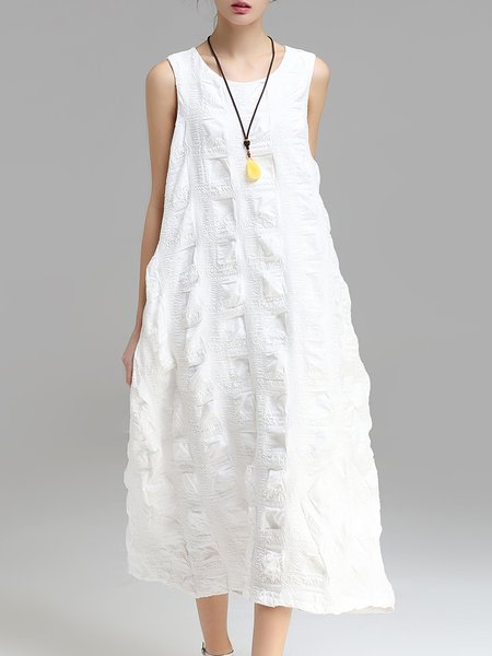 White Cotton-blend Cocoon Sleeveless Maxi Dress