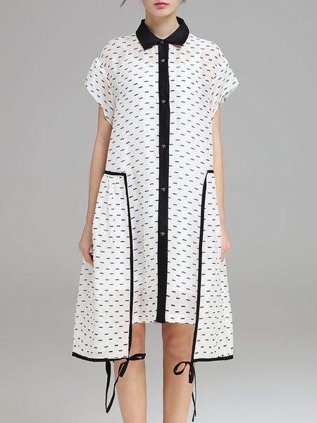 White Short Sleeve Shirt Collar Cotton-blend Two Piece Shirt Dress