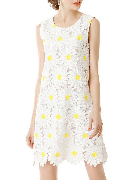 Crew Neck Girly Sleeveless H-line Mini Dress
