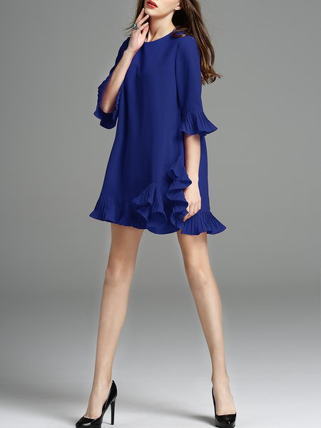Blue Flounce Crew Neck Cotton-blend Frill Sleeve Mini Dress