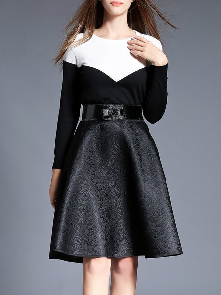 Black Two Piece Color-block Casual Midi Dress With Belt