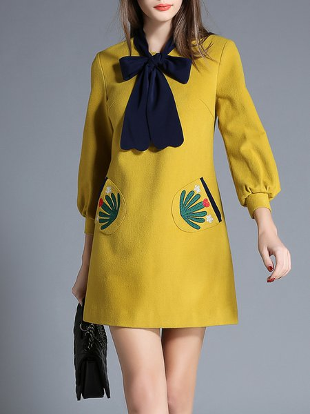 Yellow Embroidered Abstract Elegant Mini Dress