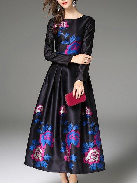Crew Neck  Elegant Long Sleeve Maxi Dress