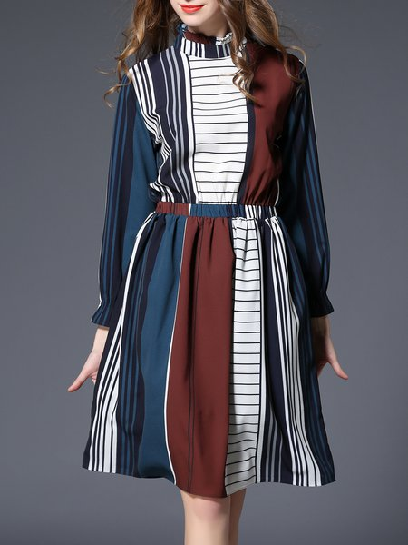 Printed Long Sleeve Elegant Midi Dress