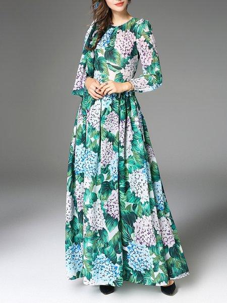 Green Printed Casual Maxi Dress