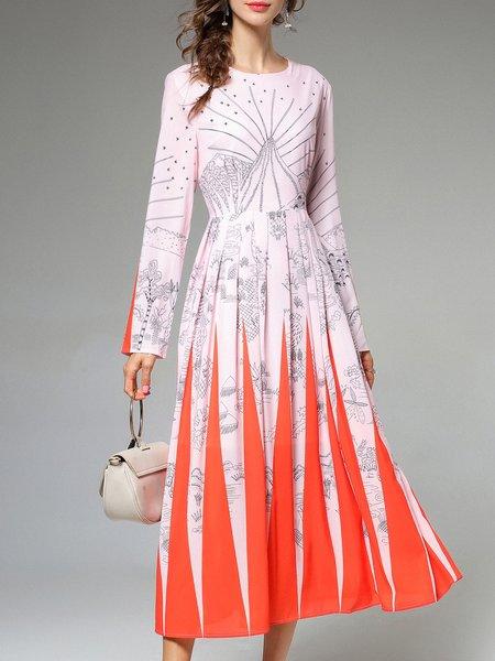 Swing Long Sleeve Pleated Casual Midi Dress