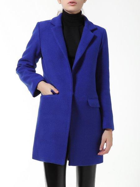Royal Blue Pockets Elegant Lapel Plain Coat