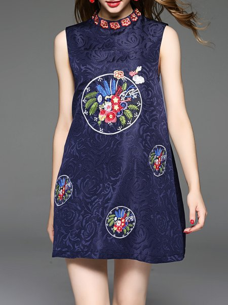 Navy Blue Floral Embroidered Jacquard Sleeveless Mini Dress