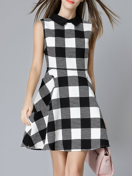 Checkered/Plaid Elegant A-line Mini Dress