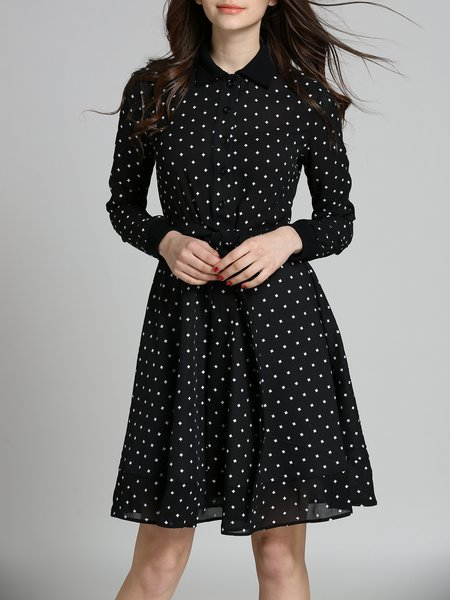 Black Polka Dots Sweet A-line Midi Dress