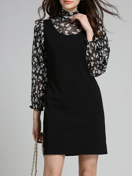 Black Sheath Long Sleeve Floral Mini Dress