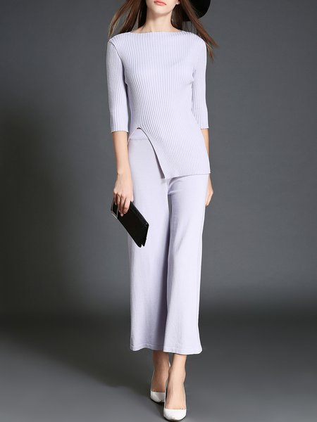 Simple Two Piece 3/4 Sleeve Jumpsuit