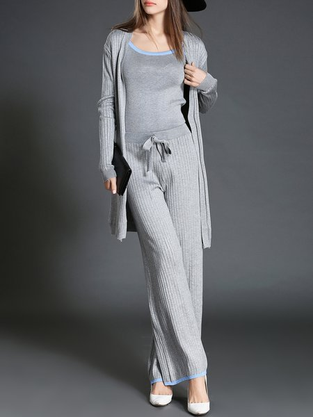 Gray Three Piece Scoop Neckline Elegant Plain Knitted Jumpsuit