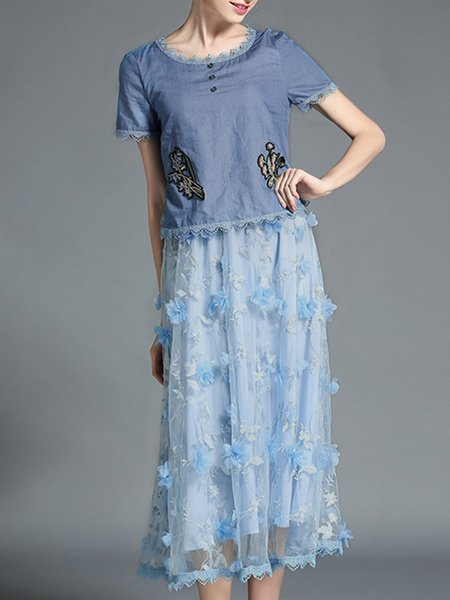 Blue Paneled Casual Floral Short Sleeve Midi Dress