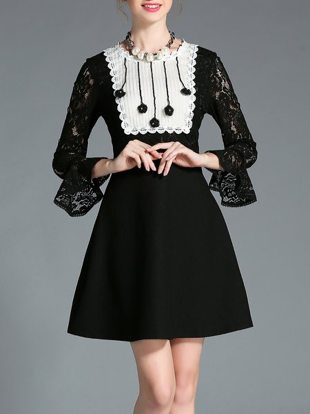 Plain Girly Pierced Frill Sleeve Midi Dress