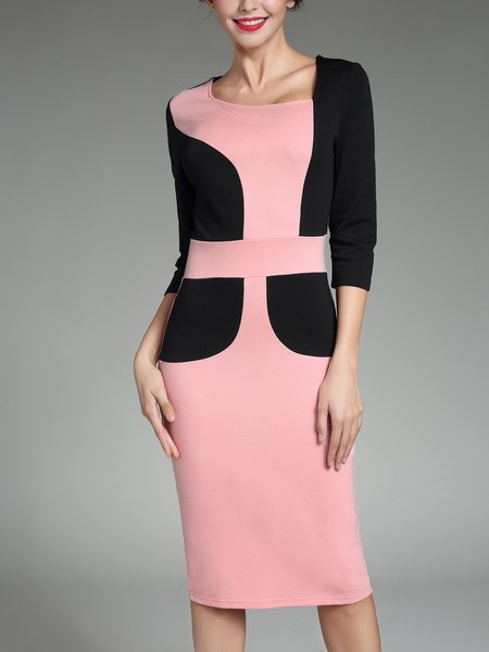 Pink Paneled 3/4 Sleeve Sheath Midi Dress