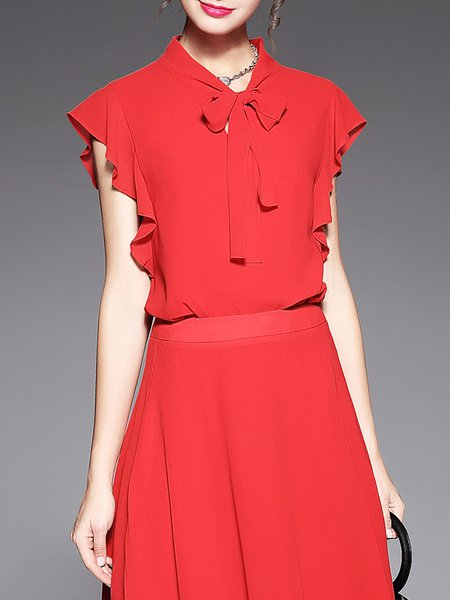 Red Crew Neck Frill Sleeve Blouse