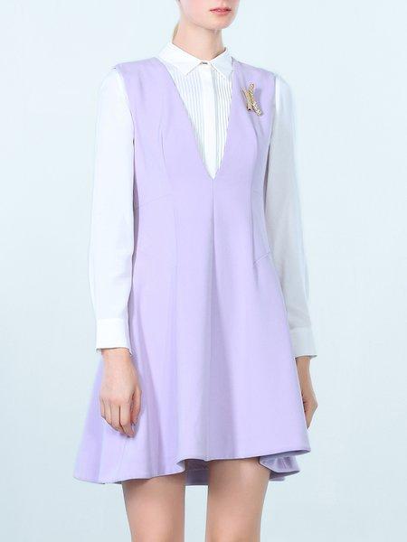 Lavender Folds Sleeveless V Neck Skater Mini Dress