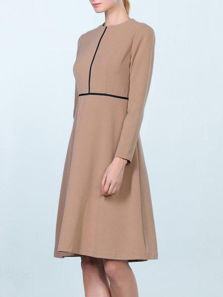 Camel Elegant Folds A-line Midi Dress